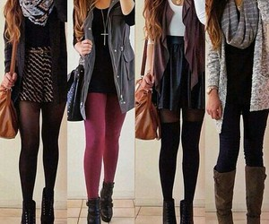 boots, school, and cardigan image