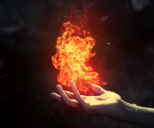 fire, flame, and hands image