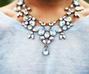 blue, necklace, and sweater image