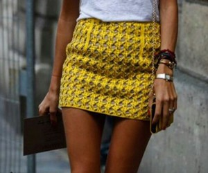 blouse, clutch, and yellow image