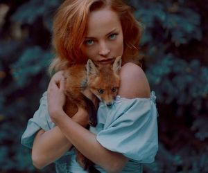 blue dress, fox, and photography image