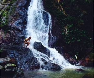 waterfall, summer, and nature image