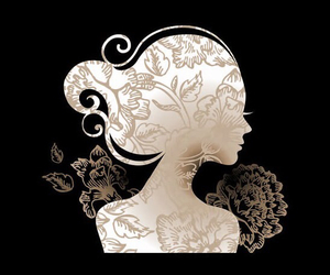 cameo, floral, and silhouette image