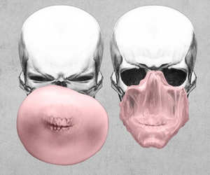 skull, pink, and gum image