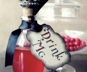 drink me, red, and alice in wonderland image