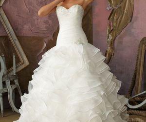 wedding dress, wedding, and ball gown image