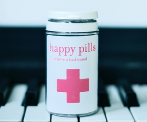happy, pills, and piano image