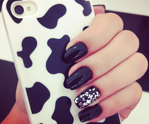 nails, black, and iphone image