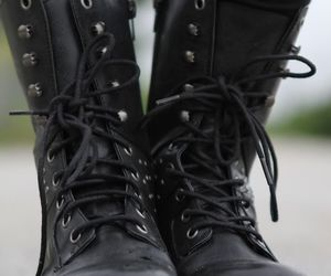 black boots, boots, and shoes image