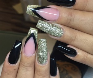 nails, blacknails, and gelnails image