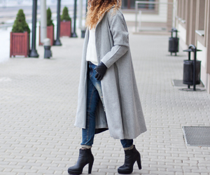 coat, fashion, and heels image
