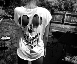 skull, girl, and shirt image