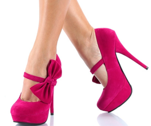 high heel, pink, and shoes image