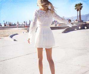 beach, beautiful, and dress image