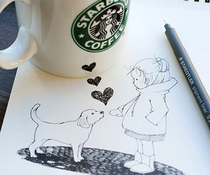 coffee, dog, and girl image