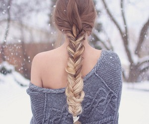 blonde hair, braid, and pullover image