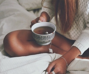 tea, girl, and sweater image