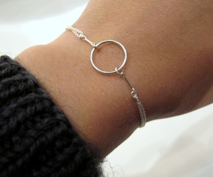 bracelet, silver, and style image