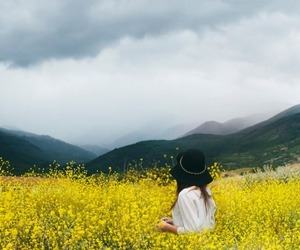 clouds, field, and girl image