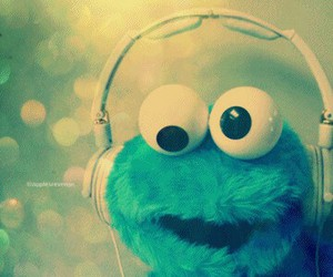 music, blue, and cookie monster image