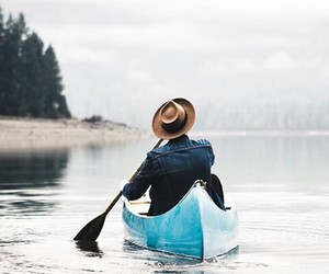 boat, forest, and man image