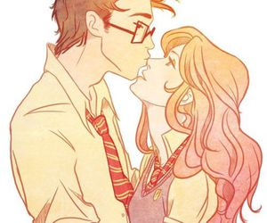 harry potter, james potter, and lily evans image