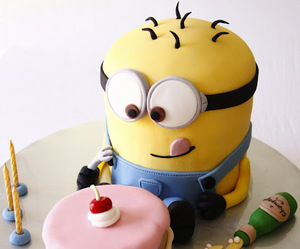 cake, minions, and food image