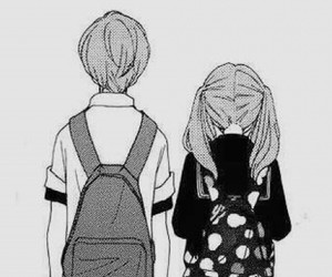 anime, backpack, and black and white image