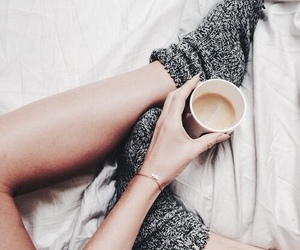 coffee, socks, and bed image