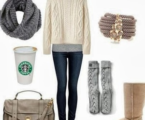 bag, clothes, and starbucks image