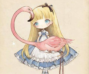 alice, flamingo, and illustration image