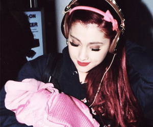 ariana grande, curls, and pink image