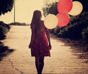 balloons, dress, and fly image