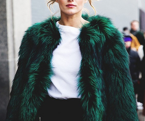 fashion, fur, and green image