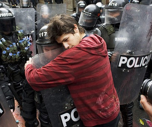 police, peace, and hug image