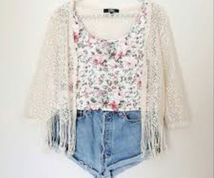 outfit, fashion, and flowered image