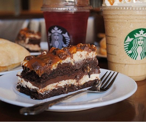 starbucks, chocolate, and cake image