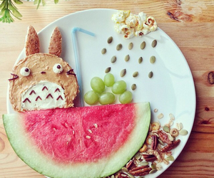 breakfast, totoro, and watermelon image