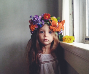 girl, flowers, and little girl image