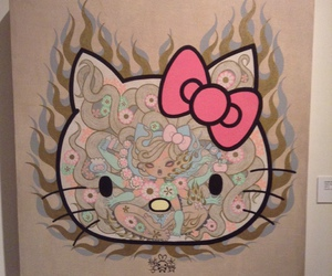 art, hello kitty, and paintings image