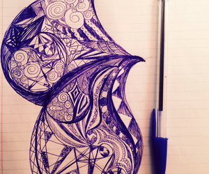 art, ballpen, and blue image