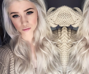 hair, piercing, and white hair image