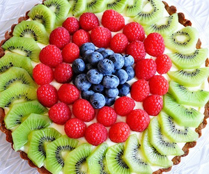 kiwi, blueberries, and cake image