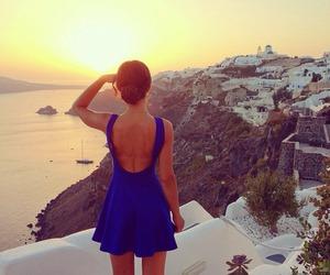 dress, Greece, and sunset image
