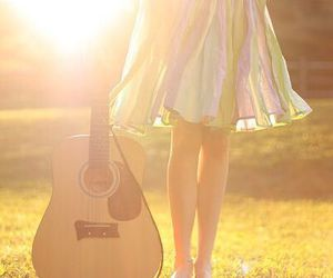 guitar, girl, and dress image