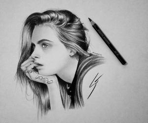drawing, art, and cara delevingne image