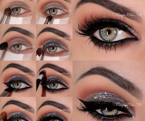 beautiful and eyes make up image