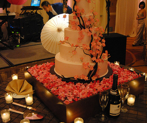 cherry blossoms, sakura, and wedding cakes image