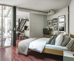 bedroom, interior design, and loft image