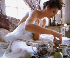 bed, morning, and breakfast in bed image